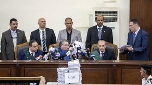 The court also sentenced the head of the Muslim Brotherhood to life in prison.