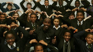 Mo Farah with school children from Lords Wood Lower Boys and Girls school