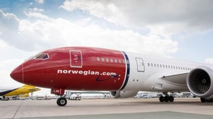 A plane operated by Norwegian.