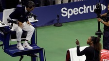 Serena Williams argues with umpire Carlos Ramos.
