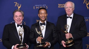 Andrew Lloyd Webber, John Legend, and Tim Rice winners of the award for outstanding variety special for Jesus Christ Superstar Live in Concert.
