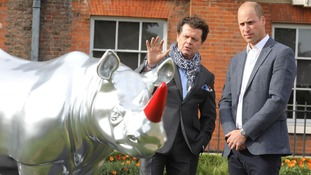 The Duke of Cambridge views a 'rhino' painted by artist Gerry McGovern