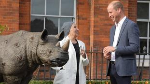 The Duke of Cambridge talks to artist Nancy Fouts