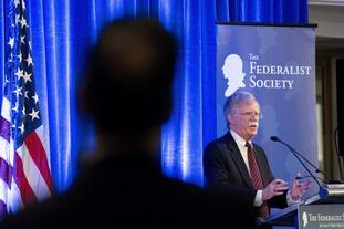 John Bolton speaks at a Federalist Society lunch