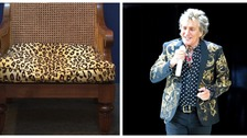 Rod Stewart's leopard print arm chair is for sale.