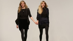 Designers Annette (left) and Daniela Felder after the Felder Felder Autumn/Winter 2013 catwalk show.