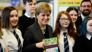 Nicola Sturgeon on a visit to Renfrew High School, Renfew, Scotland.