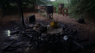 Bees were killed and bee keeping equipment destroyed in the fire