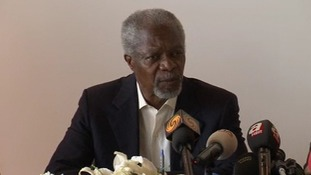 "Kofi Annan says the UN's Syrian peace plan is ""still on the table""."