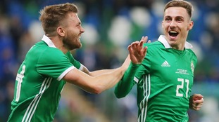 Northern Ireland's Gavin Whyte celebrates after he scores to make it 3-0.