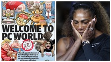 Wednesday's Herald Sun front page was covered in cartoons, and right, Serena Williams following the match.