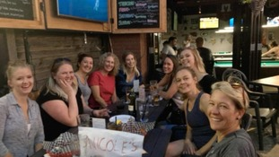 A group of Nicoles who met up at the Side Street Pub in Canada following the mass email.