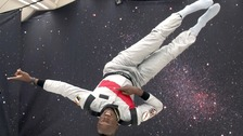 Usain Bolt in near zero-gravity conditions.