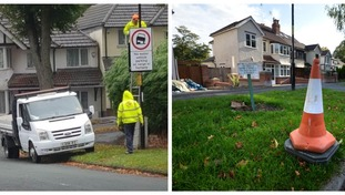 Contractors were spotted parking on a grass verge to put up a sign which asked locals not to park on the verge.