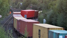 A freight train derailed at Whitacre Junction in Warwickshire on Wednesday afternoon.