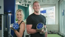 James Smith and Helen Skelton weightlifting
