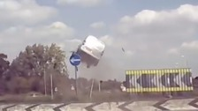 Watch: Shocking moment speeding van catapults over Norfolk roundabout