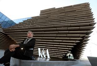 Architect Kengo Kuma outside the finished exterior of the new V&A Dundee