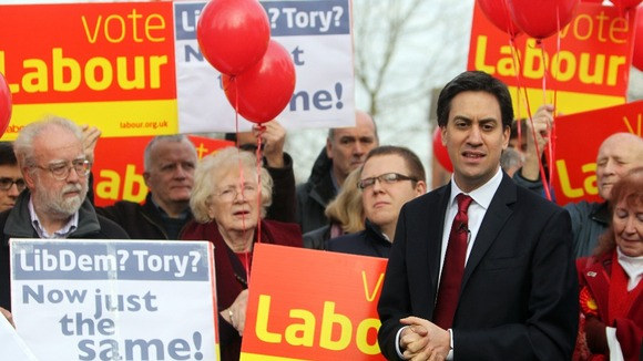 Labour leader Ed Miliband with his party's supporters in Eastleigh on Saturday.