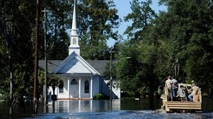 Nichols Methodist Church is seen under floodwaters in South Carolina.