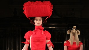 Models on the catwalk during the Pam Hogg Autumn/Winter 2013 catwalk show.