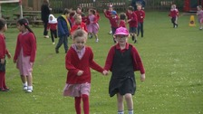 Taking it in their stride - youngsters take part in the Daily Mile initiative