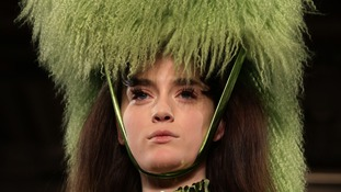 Models on the catwalk during the Pam Hogg Autumn/Winter 2013 presentation.