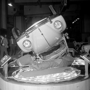 A Volkswagen Beetle displayed in an unusual way at the 1962 London Motor Show (PA).