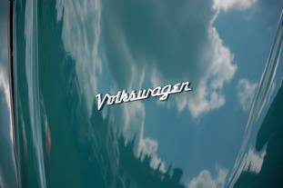 A Volkswagen badge on a classic Beetle car (Alistair Wilson 50/50/PA)