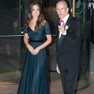 The Duchess of Cambridge, wearing a dress by British designer Jenny Packham.