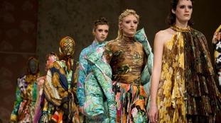 Models on the catwalk during the Richard Quinn Autumn/Winter 2018 London Fashion Week show.