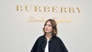 Alexa Chung arriving for the Burberry Prorsum womenswear catwalk show at Kensington Gardens, as part of London Fashion Week.