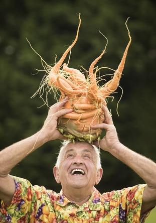 Ian Neale with his winning giant carrot