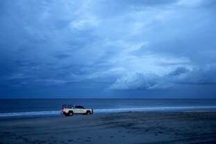A South Carolina beach during curfew