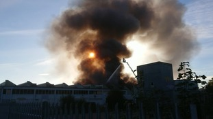 Huge fire rips through warehouse in Margate