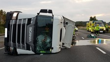 Overturned milk tanker