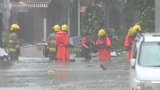 People have had to be rescued from flooded buildings in China.