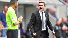 Derby County Manager Frank Lampard exchanges words with the linesman, earning him a red card.