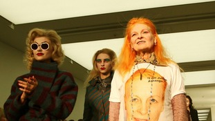 Vivienne Westwood with models on the catwalk during her show at the Saatchi Gallery, London.