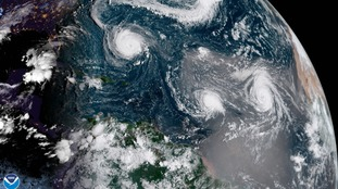 Tropical Storm Helene - the storm pictured on the far right - is heading for the UK.