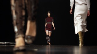 Models on the catwalk during the Marios Schwab Autumn/Winter London Fashion Week 2013 catwalk show