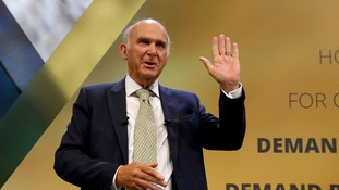 Sir Vince Cable fluffs 'erotic spasm' line in keynote speech at Liberal Democrats party conference