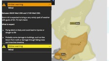 An amber weather warning has been issued by the Met Office.