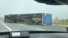 A lorry overturned on the M6 Northbound, between junction 43 and 44