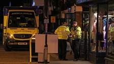"Emergency services outside the Prezzo restaurant in Salisbury, where police closed streets as a ""precautionary measure""."