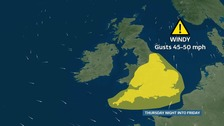 Wind warning in force Thursday night into Friday