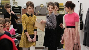 Models on the catwalk during the Orla Kiely Autumn/Winter 2013 London Fashion Week presentation.