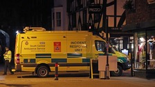 "Emergency services outside the Prezzo restaurant in Salisbury, streets were closed as a ""precautionary measure"" after two people took ill."