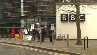 BBC journalists on a picket line in Leeds