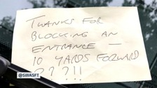 Ambulance service left note criticising their parking while on call
